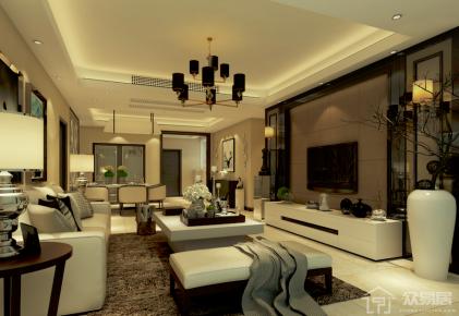 广州自由人花园现代风格三居室装修效果图