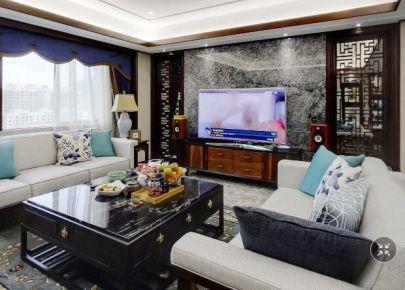 曲院风荷 中式风格三居室家庭装修效果图