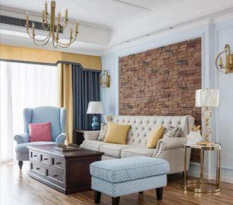 美式风格家庭装修 132平三室装修设计效果图