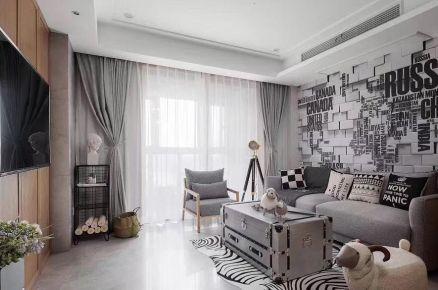 海口现代黑白灰简约风格两居室装修效果图