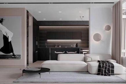 黑白灰主色调现代风格两居室装修案例