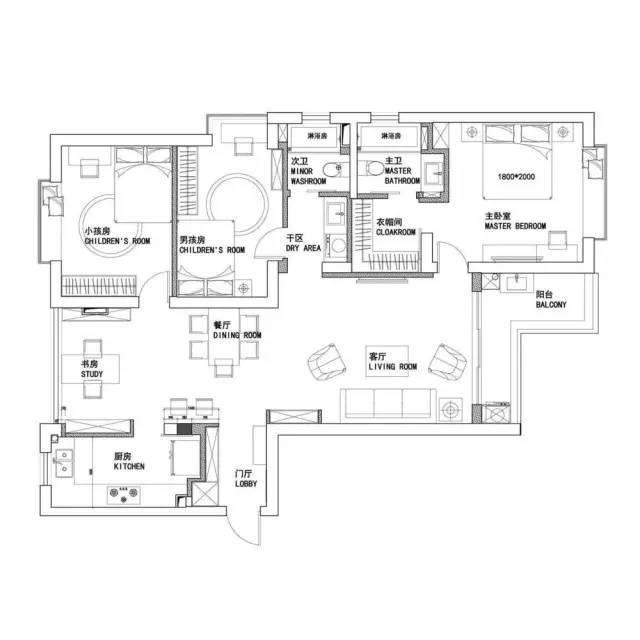 110㎡休闲北欧逸宅 杭州110平米三室两厅装修案例