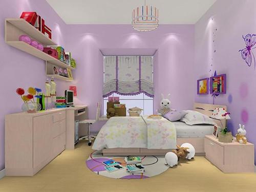 少女系房间装修效果图        这款女孩卧室,采用紫色为主色调