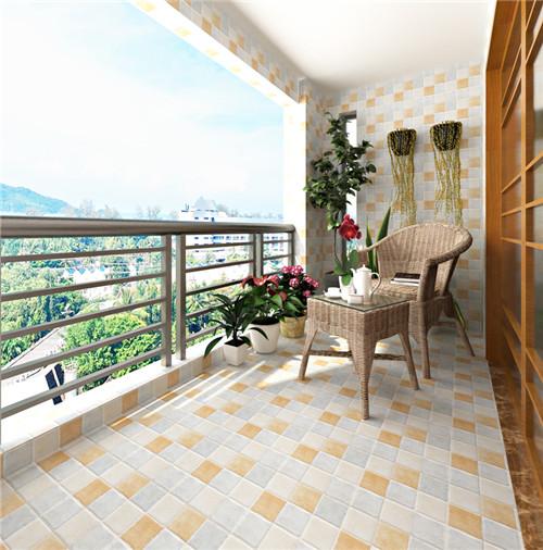 阳台贴瓷砖装修效果图1,通体砖        通体砖是阳台地砖常用的