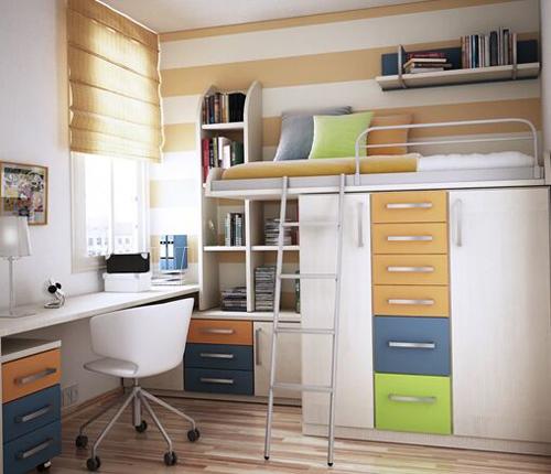2019卧室书桌装修效果图 卧室书房一体式设计大全