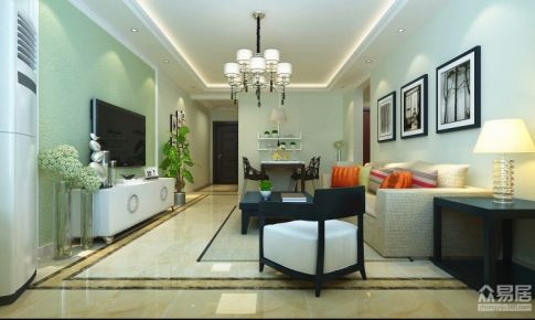 越秀星汇蓝湾89平二居室现代简约装修案例|青岛实创装饰