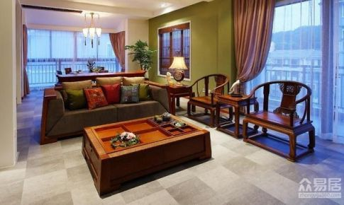 成都颐和雅居125平米中式风格三居室