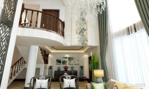 桃溪河畔御龙湾新中式130平米三房二厅二卫装修案例