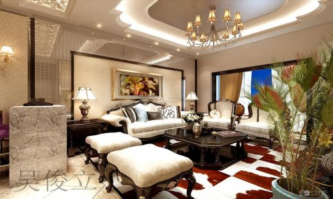 中天未来方舟欧式古典102平米三房二厅一卫装修案