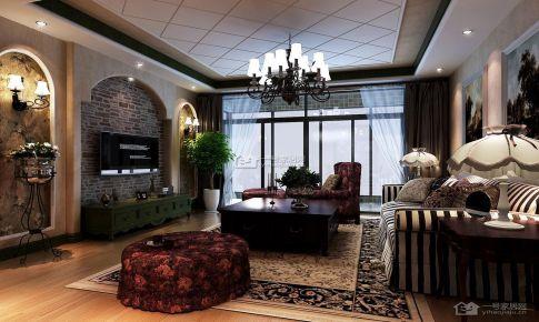 贵阳《德天国际大唐果》美式乡村110平米三房二厅一卫装修案例
