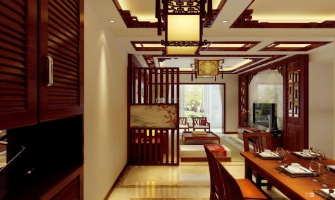 《美的林城时代》中式145平米三房二厅二卫装修案例