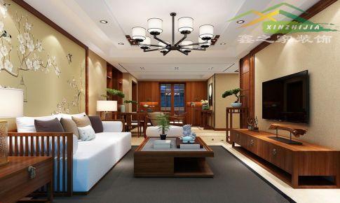 金桥湾花园125平中式风格三室两厅